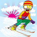 Teen Skiing Fast Stock Photography