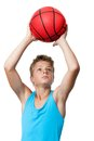 Teen sportsman holding basketball portrait of catching a isolated on white Stock Images