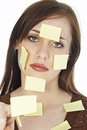 Teen with Sticky Notes