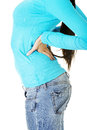 Teen student woman with back pain Royalty Free Stock Photo
