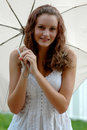 Teen with umbrella Royalty Free Stock Photo