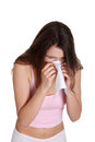 Teen woman with allergy or cold Stock Images