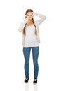 Teen woman with frame gesture. Royalty Free Stock Photo