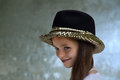 Teenage actress wearing a luxury hat with spangles Royalty Free Stock Photos