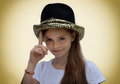 Teenage actress wearing a luxury hat with spangles Royalty Free Stock Photo