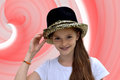 Teenage actress wearing a luxury hat with spangles Royalty Free Stock Images