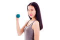 Teenage Asian girl holding dumbbell Royalty Free Stock Photo