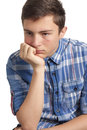Teenage boy with acne problems isolated on white background Royalty Free Stock Photo