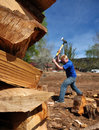 Teenage Boy Chopping Wood Stock Images