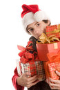 Teenage boy with gifts Stock Photography