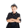 Teenage boy with headphones wearing a hat studio shot isolated on white background Stock Images