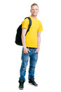 Teenage boy isolated on white in a yellow t shirt Royalty Free Stock Photo