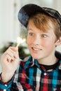 Teenage Boy Mesmerized By Flam...
