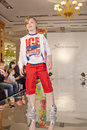 Teenage boy model performs at podium moscow mar of children gallery yakimanka during th yakimanka kids fashion week march moscow Stock Photos