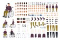 Teenage boy with physical disability creation set or constructor kit. Collection of disabled man body parts, gestures