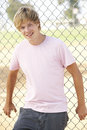 Teenage Boy In Playground Stock Images