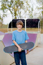 Teenage Boy Skateboarding Stock Image