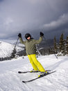 Teenage boy skiing winter sports Stock Images