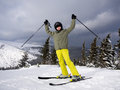 Teenage boy skiing winter sports Royalty Free Stock Image