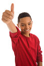 Teenage boy with thumbs up sign african ethnicity girl isolated on white background Stock Image