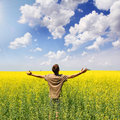 Teenage Boy in Yellow Field Royalty Free Stock Photo