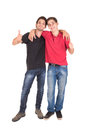 Teenage brothers happy hugging isolated in white Stock Images