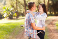 Teenage couple love happy in relaxing at the park Royalty Free Stock Photos