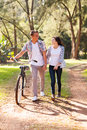 Teenage couple walking beautiful young at the park Royalty Free Stock Photos