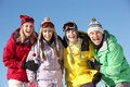 Teenage Family On Ski Holiday In Mountains Royalty Free Stock Image