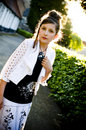 Teenage fashion girl and sun backlight Stock Photos