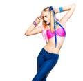 Teenage fashion model girl isolated on white background Royalty Free Stock Photo