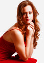 Teenage Female in Red Dress Royalty Free Stock Photo