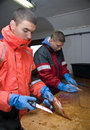 Teenage fishermen two filleting their fish Stock Image