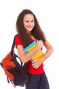 Teenage girl with backpack and books Royalty Free Stock Photo