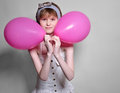 image photo : Teenage girl with balloons