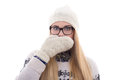 Teenage girl with beautiful long hair in warm winter clothes clo closing her mouth isolated on white background Stock Photo