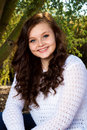 Teenage Girl with Big Blue Eyes Royalty Free Stock Photo