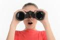 stock image of  Teenage girl with binoculars. Excited teenage looking through bi