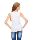 Teenage girl in blank white shirt from the back design concept Royalty Free Stock Images