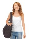 Teenage girl in blank white t shirt with bag happy Stock Photography