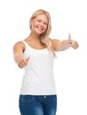 Teenage girl in blank white t shirt with thumbs up happy Stock Photos