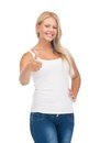 Teenage girl in blank white t shirt with thumbs up happy Stock Images