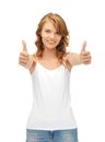 Teenage girl in blank white t shirt with thumbs up happy Royalty Free Stock Photography