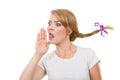 Teenage girl in braid hair talking rumors