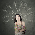 Teenage girl with branchy mind portrait of beautiful smart student to find a solution Stock Image