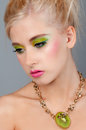 Teenage Girl in Bright Makeup Royalty Free Stock Photography