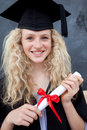 Teenage Girl Celebrating Graduation in the class Royalty Free Stock Photo