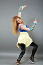 Teenage girl dancing hip-hop studio series Royalty Free Stock Photo