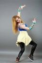 Teenage girl dancing hip-hop studio series Royalty Free Stock Photo