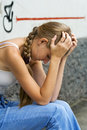 Teenage girl in depression Royalty Free Stock Images